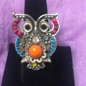 Multi-colored blinged out Owl Ring